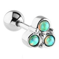 Surgical Steel Opal Jeweled Trinity Barbell - Green