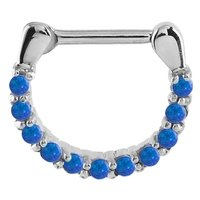Surgical Steel Opal Jewelled Septum Ring - Blue