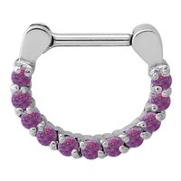 Surgical Steel Opal Jewelled Septum Ring - Purple