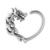 Surgical Steel Open Heart Continuous Ring - Right Dragon