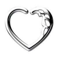 Surgical Steel Open Heart Continuous Ring - Teardrops