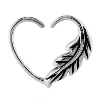 Surgical Steel Open Heart Seamless Ring - Left Feather