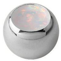 Surgical Steel Synthetic Opal Jeweled Threaded Ball - White