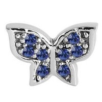 Surgical Steel Threaded Jeweled Butterfly Attachment - Blue