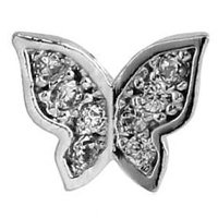 Surgical Steel Threaded Jeweled Butterfly Attachment - Crystal