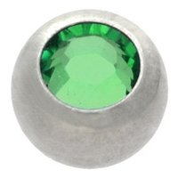 Surgical Steel Threaded Jeweled Micro Ball - Dark Green