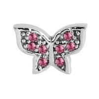 Surgical Steel Threaded Jewelled Butterfly Attachment - Pink