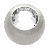 Surgical Steel Threaded Jeweled Micro Ball - Clear
