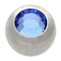 Surgical Steel Threaded Jeweled Micro Ball - Dark Blue
