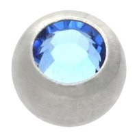 Surgical Steel Threaded Jeweled Micro Ball - Light Blue