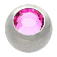 Surgical Steel Threaded Jeweled Micro Ball - Pink