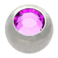 Surgical Steel Threaded Jeweled Micro Ball - Purple