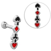 Surgical Steel Tragus Barbell - Four Suits