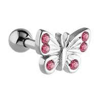 Surgical Steel Tragus Barbell - Pink Butterfly