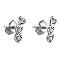 Surgical Steel White Opal Ear Studs