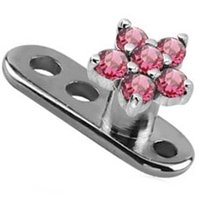 Titanium Dermal Anchor with Surgical Steel Jewelled Flower Attachment - Pink