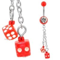 UV Belly Button Dangle (Red Dice)