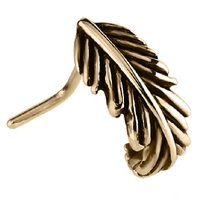 Zircon Gold 90 Degree Nose Stud - Feather