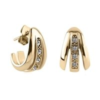 Zircon Gold Crystal Jeweled Ear Studs