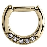 Zircon Gold Jeweled Hinged Septum Clicker Ring - Crystal