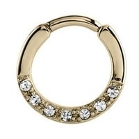 Zircon Gold Jeweled Septum Clicker Ring - Crystal