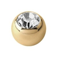 Zircon Gold Threaded Jeweled Balls - Clear