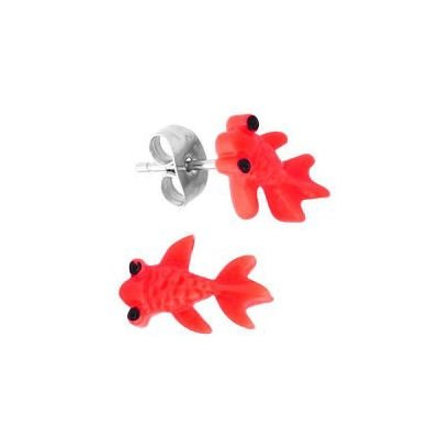 Acrylic Fish Studs - Red