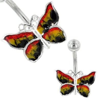 Belly Ring (Multi Hand Painted Butterfly)