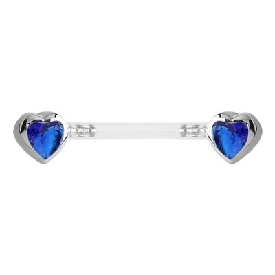 Bioflex Push Fit Jewelled Heart Nipple Barbell - Blue