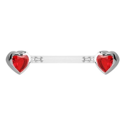 Bioflex Push Fit Jewelled Heart Nipple Barbell - Red
