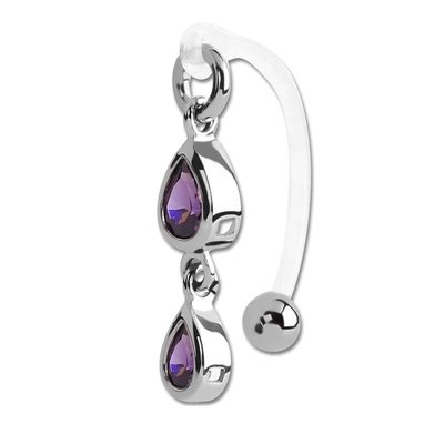 Bioflex VCH Jewellery With Two Tear Shaped Purple Jewelled Surgical Steel Charms
