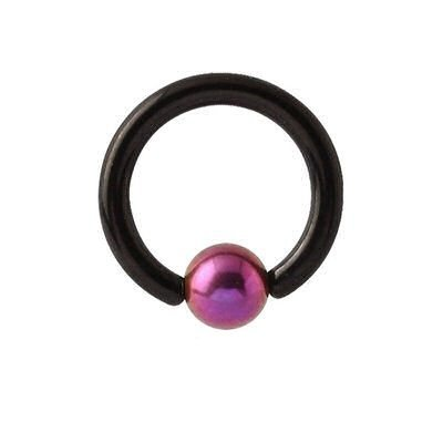 Blackline Captive Bead Ring - Purple Titanium Ball