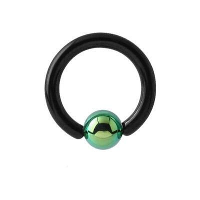 Blackline Captive Bead Ring with Green Titanium ball