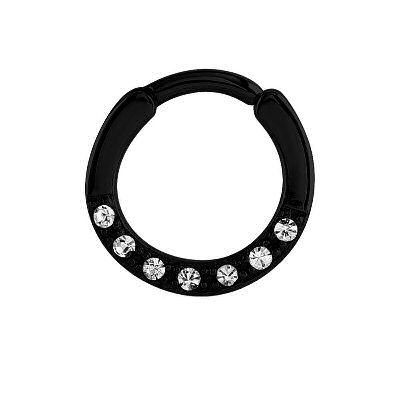 Blackline Hinged Jeweled Septum Clicker Ring - Crystal