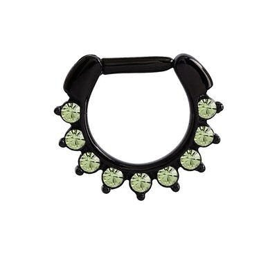Blackline Jeweled Hinged Septum Clicker Ring - Green