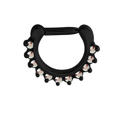 Blackline Jeweled Prong Set Septum Clicker Ring - Crystal AB