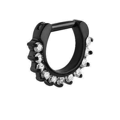 Blackline Jeweled Prong Set Septum Clicker Ring - Crystal