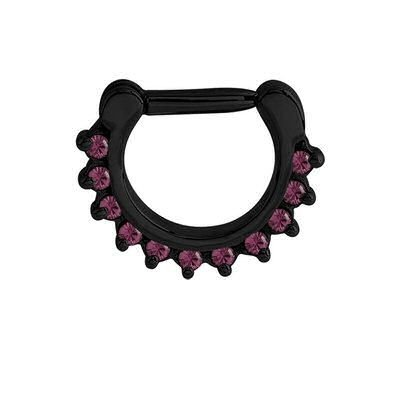Blackline Jeweled Prong Set Septum Clicker Ring - Purple