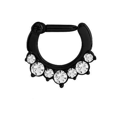 Blackline Jeweled Septum Clicker Ring - Crystal
