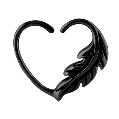 Blackline Open Heart Seamless Ring - Left Feather