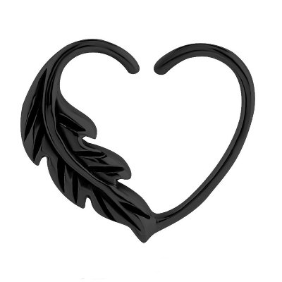 Blackline Open Heart Seamless Ring - Right Feather