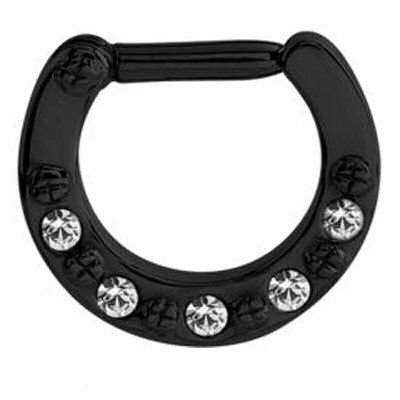Blackline Round Jeweled Hinged Septum Clicker Ring - Crystal