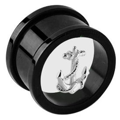 Blackline Threaded Floating Charm Tunnel - Anchor