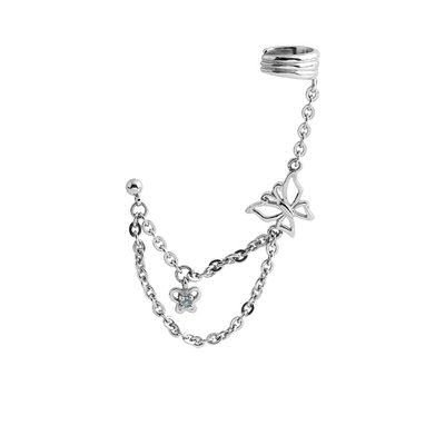 Butterfly Chain Ear Piercing Cuff - Clear