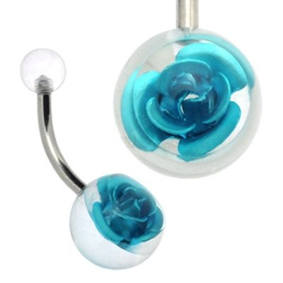 Clear Rose Ball Belly Ring - Blue