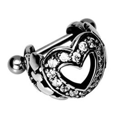 Crystal Heart Ear Piercing Shield