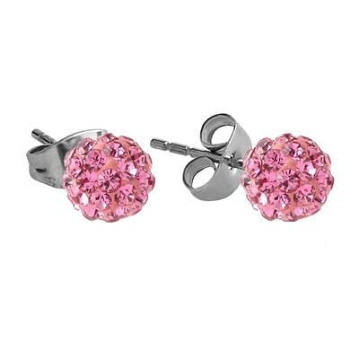 Crystalline Stud Earrings - Pink