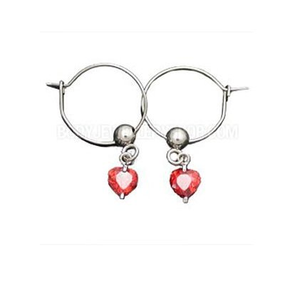 CZ Hoop Earrings - Red Hearts
