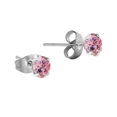 Earrings - Jeweled Small Round Gem Pink