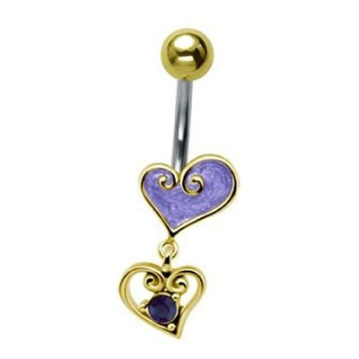 Gold-Plated Heart Drop Belly Bar - Purple